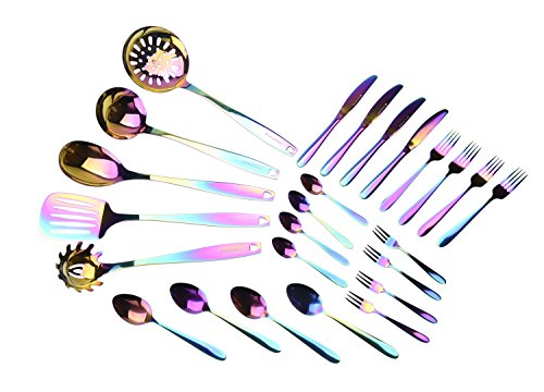 WaxonWare Stainless Steel Kitchen Tools and Flatware Cutlery (25-Piece Set) Complete Utensil & Silverware Set Bundle   Forks, Knives, Spoons, Spatula, Ladle, Turner & More   Rainbow PVD Coated by WaxonWare