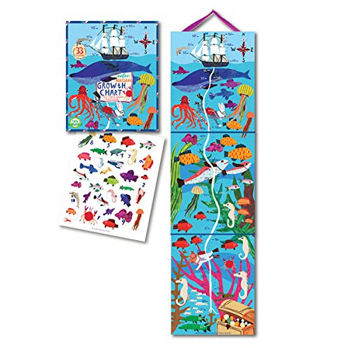 eeBoo Big Blue Whale Height Growth Chart for Boys ()