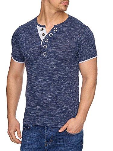 TAZZIO Herren Rundkragen T-Shirt mit Melange Muster T-Shirt 16180