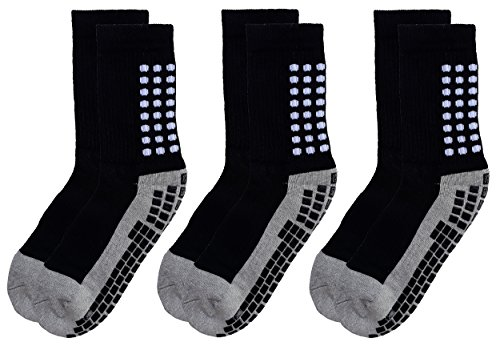 RATIVE Anti Slip Non Skid Slipper Hospital Socks with grips for Adults Men Women 2XL XX-Large (XXL, 3 pairs-black)