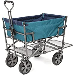 Mac Sports DD-100 Collapsible Double Decker Outdoor Utility Wagon with Extended Lower Shelf, Teal