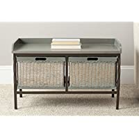 Safavieh American Homes Collection Noah Antique Pewter and French Grey Storage Bench