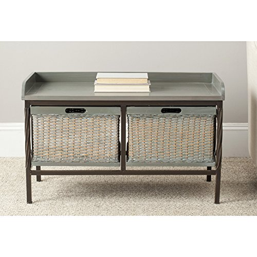 Safavieh American Home Collection Noah Antique Pewter and French Grey Wooden Storage Bench - Antique French Bench