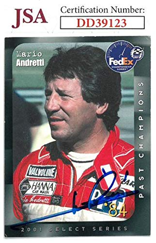 (Mario Andretti signed Indy Car 2001 Select Series 1984 Fed Ex Championship Series Racing Trading Card- Hologram #DD39123 - JSA Certified)