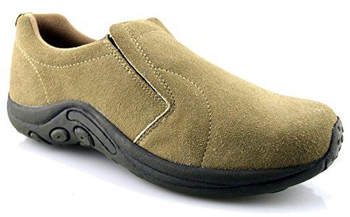 Dek Mens Leather Suede Jungle Moc Hiking Walking Slip On Trainers Casual Shoes Size Taupe