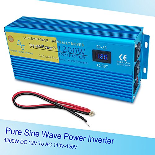 - IpowerBingo Car Boat 1200W/2400W(Peak) Pure Sine Wave Power Inverter 12V DC to 110 V AC with 2 AC Outlets 2 Battery Cables with LCD Display