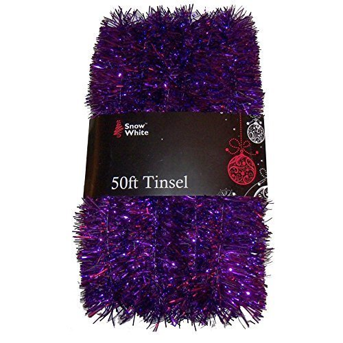 50 Foot Extra Long Tinsel Pack In Purple - Xmas Decorations