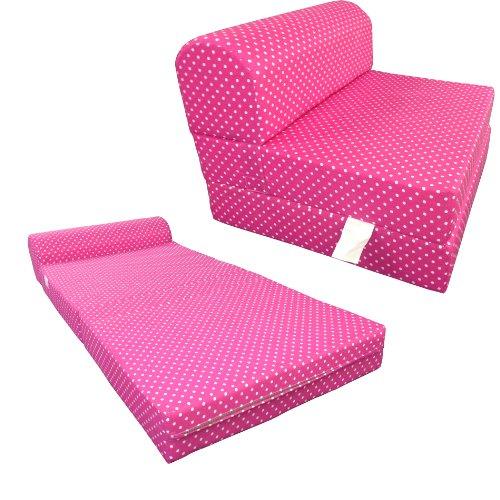 Pink White Dots Twin Size Chair Fold Foam bed 1.8Lb Densi...