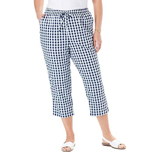 Woman Within Women's Plus Size Seersucker Capri Pant - Evening Blue Gingham, 24 W