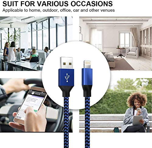 iPhone Charger,YEFOOT MFi Certified Lightning Cable(3/3/6/6/10FT)Charging USB Syncing Data Nylon Braided with Metal Connector Compatible iPhone 12/11/Pro/Max/X/XS/XR/XS Max/8/Plus/7/7 Plus More