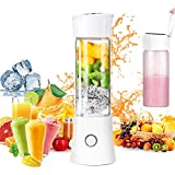Portable Blender,USB Rechargeable Personal Smoothie Blender Mini Juicer Cup 480ML Fruit Juice Mixer Small Travel Blender for Shakes and Smoothies with Stainless Steel 6-Blades, FDA BPA Free (White)