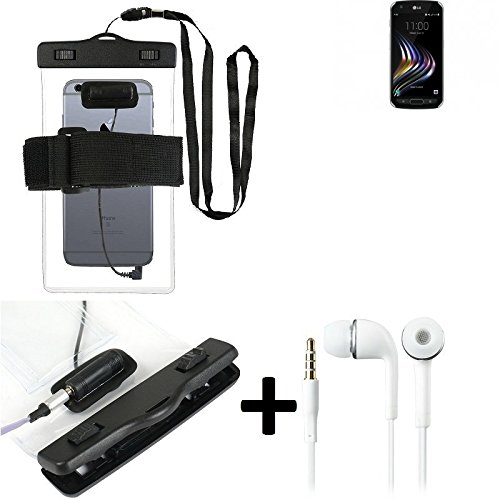 Estuche estanco al agua con entrada de auriculares para LG Electronics X Venture + auricular incluido, transparente | Trotar bolsa de playa al aire libre caja brazalete del teléfono caso de cáscara ba