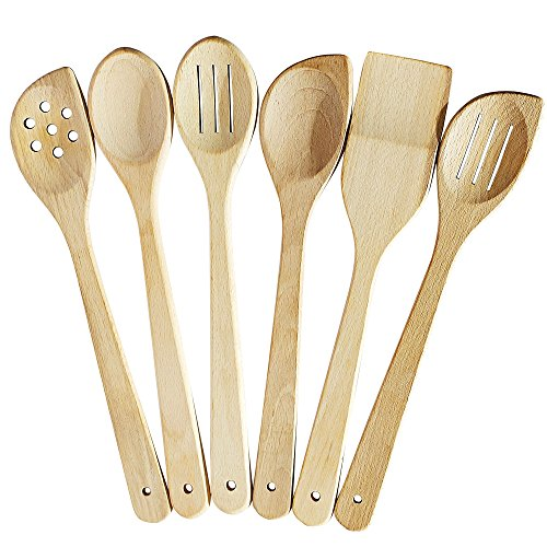Healthy Cooking Utensils Set - 6 Wooden Spoons For Cooking - Natural Nonstick Hard Wood Spatula and Spoons - Uncoated and Unglued - Durable Eco-friendly and Safe Kitchen Cooking Tools.