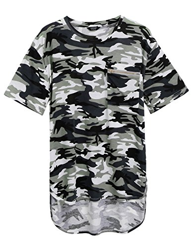 Coofandy Mens Summer Hipster Hip Hop Camo-Camouflage T Shirts Longline Tee with Zipper Pocket