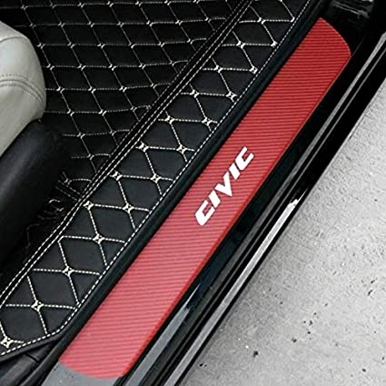 White SENYAZON Civic Decal Sticker Carbon Fibre Vinyl Reflective Car Door Sill Decoration Scuff Plate for Honda Civic