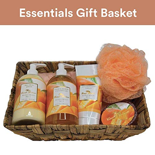 - Camille Beckman Essentials Gift Basket, Mango Beach No. 2, Glycerine Hand Therapy 6 oz, Silky Body Cream 13 oz, Hand and Shower Cleansing Gel 13 oz, Glycerine Soap 3.5 oz