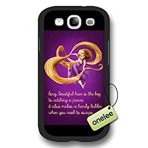 Cartoon Movie Disney Tangled Princess Rapunzel Frosted Phone Case & Cover for Samsung Galaxy S3(i9300) - Black