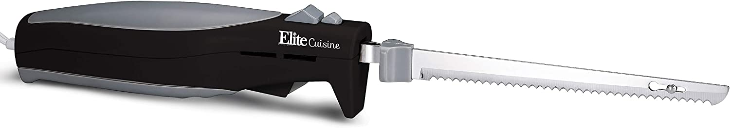 Elite Cuisine EK-570B Maxi-Matic Electric Knife for bread carving - best value for kitchen tasks with lithium ion battery. We may earn commission on purchases made from links on this page.