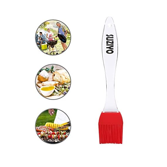 SUZIYO Silicone Basting/Pastry/Grilling/BBQ Brush, Serving for Kitchen Utensil Gadgets, Marinating, Cooking, Baking, Cake Desserts, Steak and More. Set of 2 (Red) 5 PURE SILICONE: SUZIYO premium silicone brush is Made of 100% food grade silicone, very durable,non-toxic, BPA free,flexible.Safe and environmentally friendly,with LFGB & FDA standards. SAFE AND EASY TO USE: Safe to use in Oven, Microwave, Dishwasher & Freezer. Just put it in the sink or in a dishwasher. Non-stick, stain & odor resistant, Use for kitchen utensils, gadget, table cutlery,and a beautiful ergonomic design for a stylish addition to your kitchen utensils. HEAT RESISTANT: It can withstand heat up to 480 degrees fahrenheit.