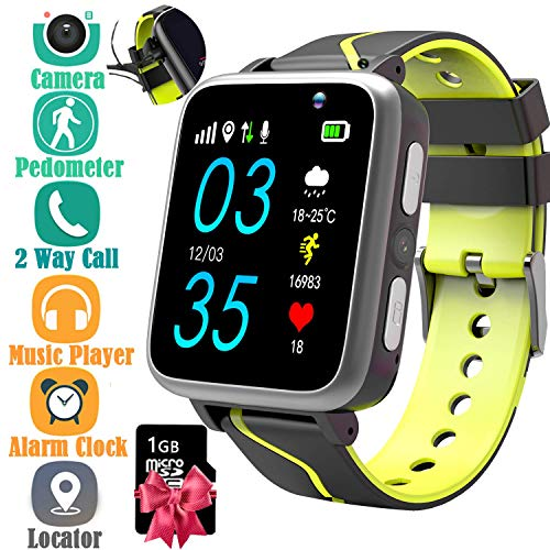 (Kids Smart Watch with Music Player - Childrens Mp3 Music Player Watch [with 1GB Micro SD Card] with SIM Slot Pedometer Camera Flashlight Tracker Sports Watch (Black))