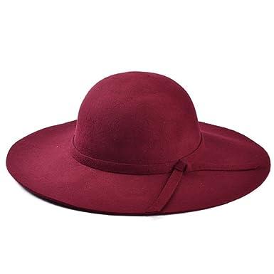 987ecfeb4427d Goyestore Women Soft Wool Wide Brim Cloche Fedora Floppy hat Cap retro goth  bowknot band (Wine Red)  Amazon.in  Clothing   Accessories