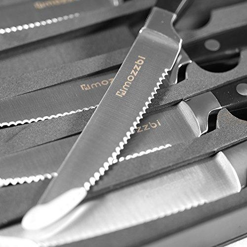 Premium Serrated Steak Knives 6-Piece Laser Cut Ultra-Sharp Stainless Steel Steak Knife, Cutlery Set,Dinner Knives Gift Set By Mozzbi. by Mozzbi (Image #4)