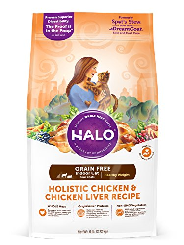 Halo Grain Free Natural Dry Cat Food, Indoor Healthy Weight Chicken & Chicken Liver Recipe, 6-Pound Bag