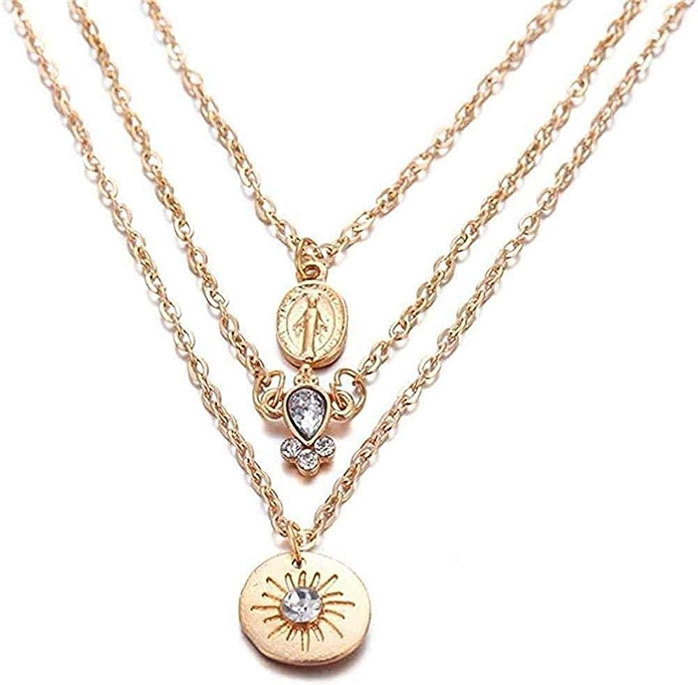 GLLFC Collar para Mujer Hombre Collar Collar de Perlas con Estructura de Concha Collar y Colgante Multicapa para Mujer Collar Colgante Cadena para Mujer Hombre