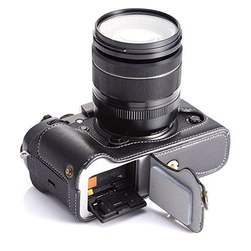 X-T2 X-T3 Case, BolinUS Handmade Genuine Real Leather Half Camera Case Bag Cover for Fujifilm X-T2 Fuji XT2 Bottom Opening Version  Hand Strap -Black