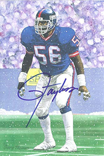 - Lawrence Taylor Autographed New York Giants Goal Line Art Card Blue