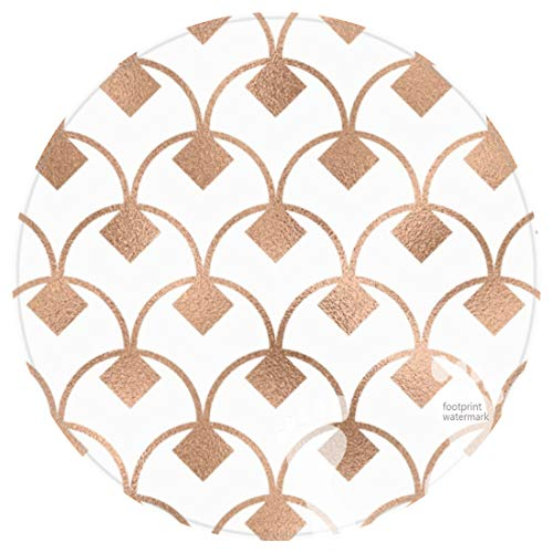 DECER Bedroom Floor Shower Round Rugs Towel bathroon Non Slip Bath mat-Geometric Copper foil Look