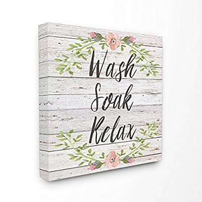 Stupell Industries Wash Soak Relax Floral Wood Canvas Wall Art, 30 x 30, Multi-Color