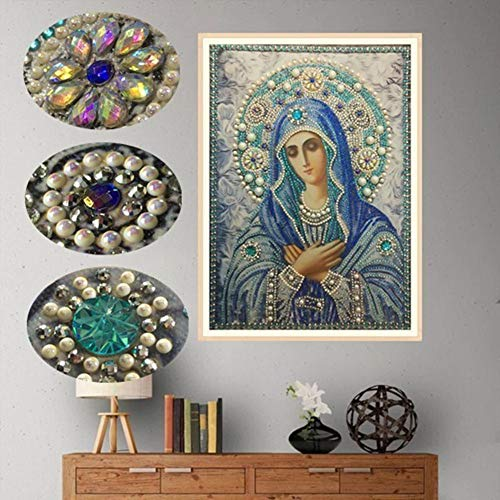 Special Shape 5D Diamond Painting Kits for Adults Kids, Awesocrafts Blessed Virgin Mary Partial Drill DIY Diamond Art Embroidery Paint by Numbers with Diamonds (Virgin Mary) (Sale Rooster For Paintings)
