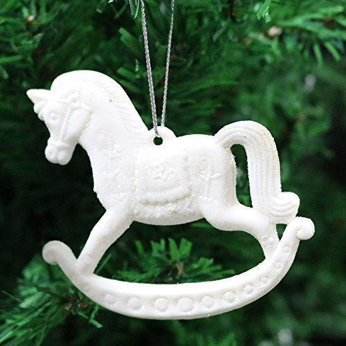 3 pack of glitter rocking horse christmas tree hanging pendant decorations 1 white