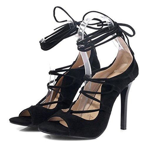 Easemax Femmes Sexy Faux Daim Haute Talon Aiguille Peep Toe Auto Cravate Sandales Denveloppement Cheville Noir