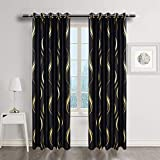 MYRU Black and Gold Blackout Curtains for Bedroom, Luxury Striped Curtains for Living Room (2 Panels 54' by 84')