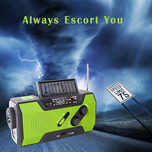 Emergency Weather Solar Crank AM/FM NOAA Radio, with 2000 mA Rechargeable Power Reading Lamp Led Flashlight SOS Alarm USB Charging Multi-Function Design for All Kinds of Emergency Situations. by JU FENG (Image #2)