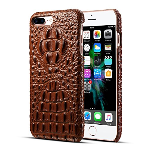 iPhone 7 Plus/ iPhone 8 Plus Genuine Leather (Crocodile Texture)Case Cover,Flying Horse Real Leather Alligator Skin Texture[Ultra Slim Handmade]Back Cover for iPhone 8 Plus/iPhone 7 - Alligator Skin Texture