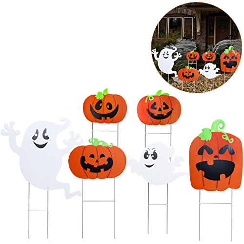 TINKSKY Ghost and Pumpkin Yard Stake Signs Halloween Trick or Treat Party Outdoor Decoration,6 Pack