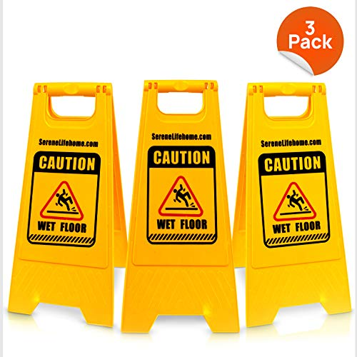 Pyle 3-Pack Caution Wet Floor Signs - Lightweight Safety Style w/ 2-Sided Warning Messages, Slip & Fall Accident Prevention, Indoor/Outdoor Use, Marine Grade Waterproof Design PWSB33