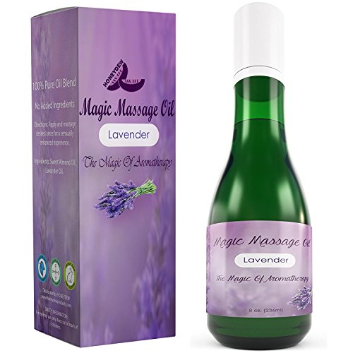 Sensual Massage Oil with Pure Lavender Essential Oil Therapeutic Almond Anti-Aging Natural Skin Care for Moisturizing Dry Skin Antioxidant Vitamin E Erotic Spa Massage Therapy Treatment Sexual Health (Lotion Massage Sensual)