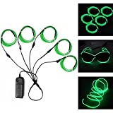5 x 5 master flash - Ourbest El Wire Green Neon Light Wire Battery Pack 3ft Electroluminescent Strip Costume Lights Glowing Strobe String Kit Battery Operated Rope for Halloween Christmas Party Decoration DIY Sign (5x 1m)