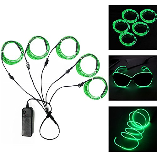 Ourbest El Wire Green Neon Light Wire Battery Pack 3ft Electroluminescent Strip Costume Lights Glowing Strobe String Kit Battery Operated Rope for Halloween Christmas Party Decoration DIY Sign (5x (Flash Drive Halloween Costume)