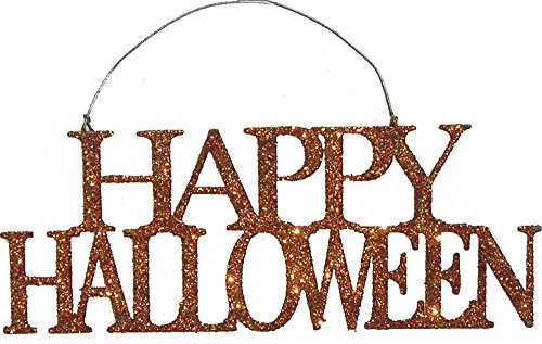 Primitives by Kathy Orange Glitter Tin Halloween Ornament - Happy Halloween 6.63