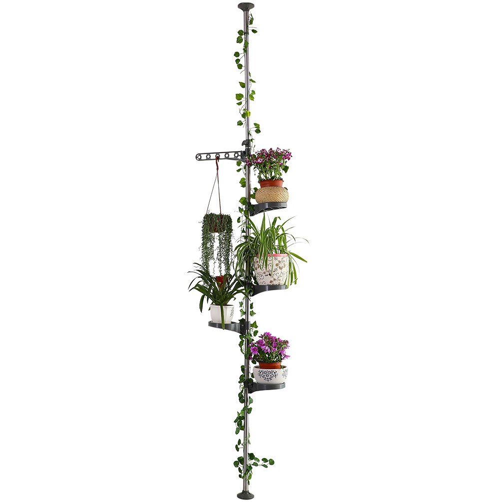 Baoyouni 4-Layer Flower Display Rack Tension Pole Plant Stand Indoor Balcony Floral Hanger Shelves, Grey LTD.