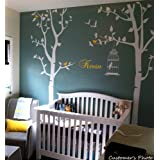PopDecors - Nursery Tree with Personalized Kid's Name Custom Beautiful Tree Wall Decals for Kids Rooms Teen Girls Boys Wallpaper Murals Sticker Wall Stickers Nursery Decor Nursery Decals