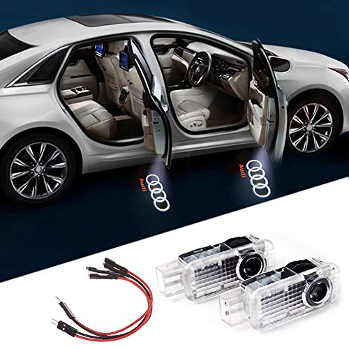 Aukur Car Door LED Logo Light Laser Projector Lights Ghost Shadow Welcome Lamp Easy Installation for For Audi A4 A3 A6 Q7 A1 A5 TT A8 Q3 A7 R8 RS 2-pc Set (A8 Audi Set)