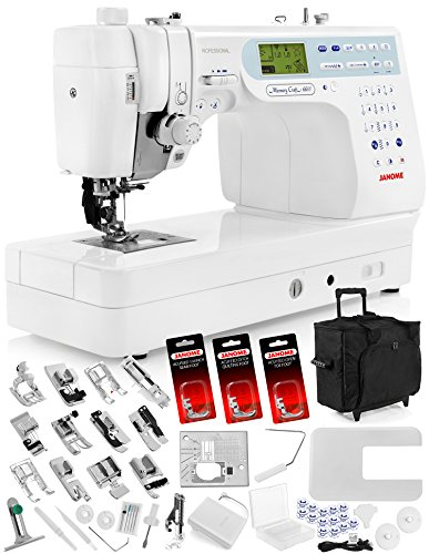 "Janome Memory Craft 6600P (6600) Sewing Machine w/Built-in AcuFeed Feeding Sytem + Extension Table + Trolley + AcuFeed 1/4"" Seam Foot + AcuFeed Ditch Quilting Foot + AcuFeed Open Toe Foot + Much More"