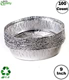 EcoQuality (100 Pack) - 9 Inch Disposable Round Aluminum Foil Take-Out Pans - Disposable Tin Containers, Perfect for Baking, Cooking, Catering, Parties, Restaurants (No Lids)