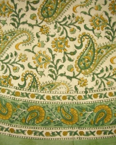 "Homestead Block Print Rajasthan Paisley Round Cotton Tablecloth 72"" Green"